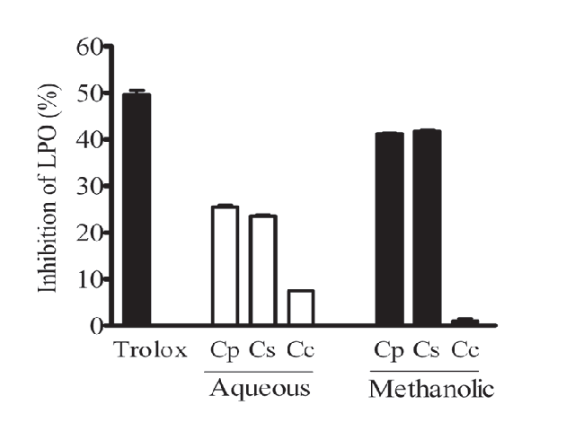 Effect of Centaurea sp. extracts (1 mg/mL) and trolox (85 μg/mL) on lipid peroxidation