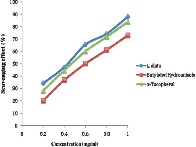 Scavenging effect of aqueous extract of L. alata stem bark on DPPH radical